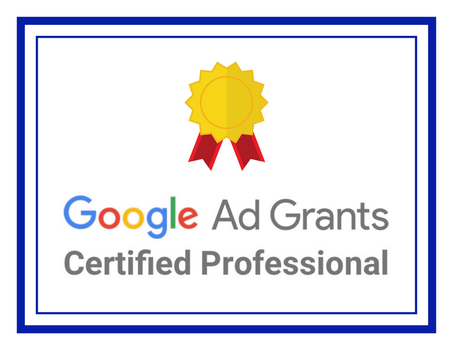Google Ad Grant Certificate